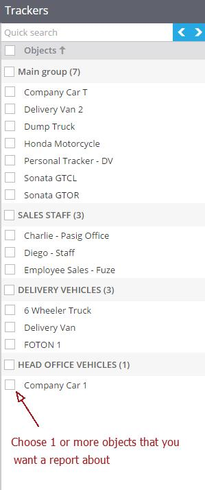 choose vehicles for gps tracker report